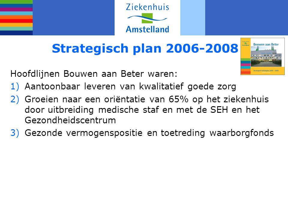 Strategisch plan 2006-2008 Hoofdlijnen Bouwen aan Beter waren: