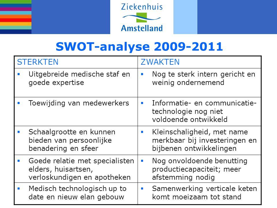 SWOT-analyse 2009-2011 STERKTEN ZWAKTEN