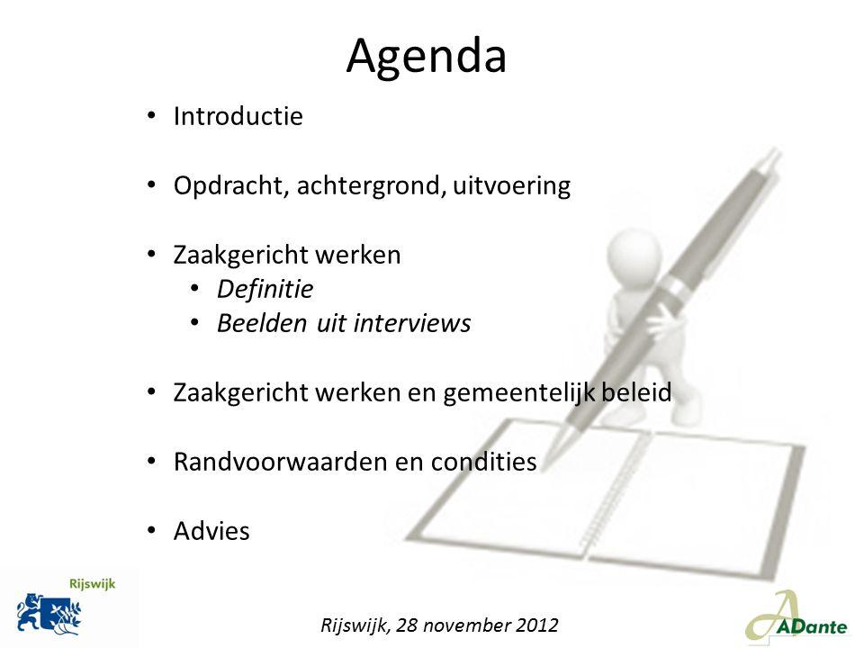 Agenda Introductie Opdracht, achtergrond, uitvoering