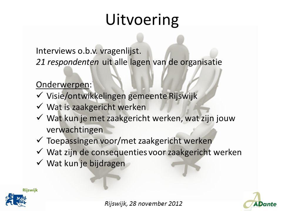 Uitvoering Interviews o.b.v. vragenlijst.