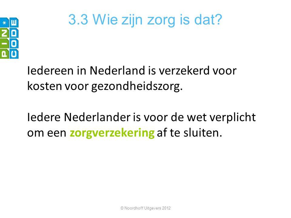 3.3 Wie zijn zorg is dat Iedereen in Nederland is verzekerd voor kosten voor gezondheidszorg.