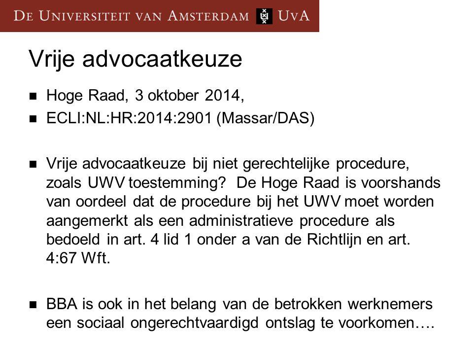 Vrije advocaatkeuze Hoge Raad, 3 oktober 2014,