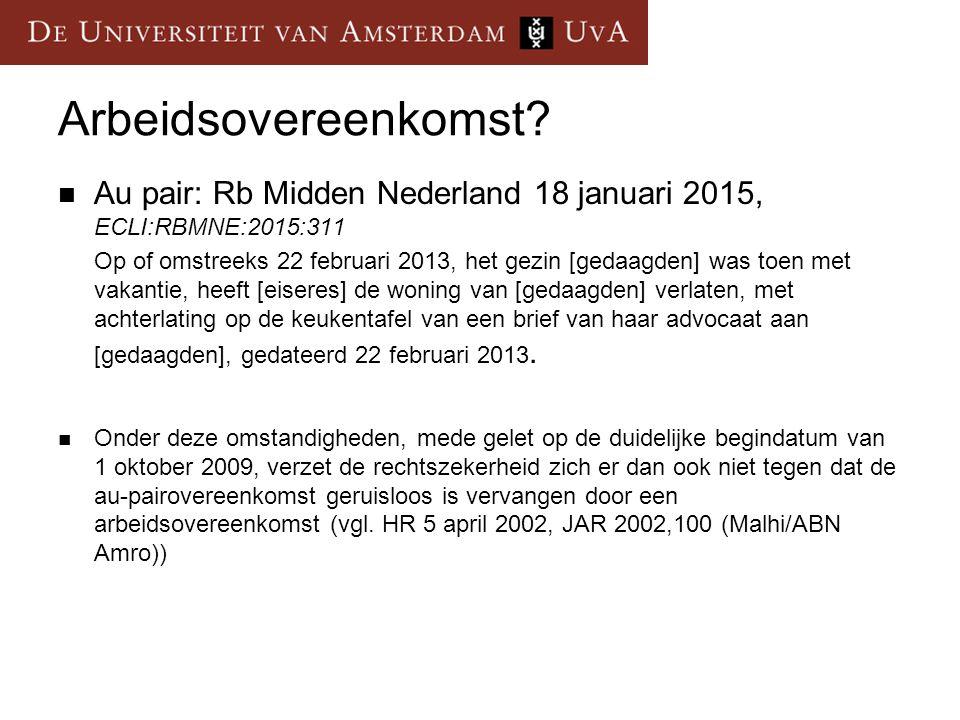 Arbeidsovereenkomst Au pair: Rb Midden Nederland 18 januari 2015, ECLI:RBMNE:2015:311.
