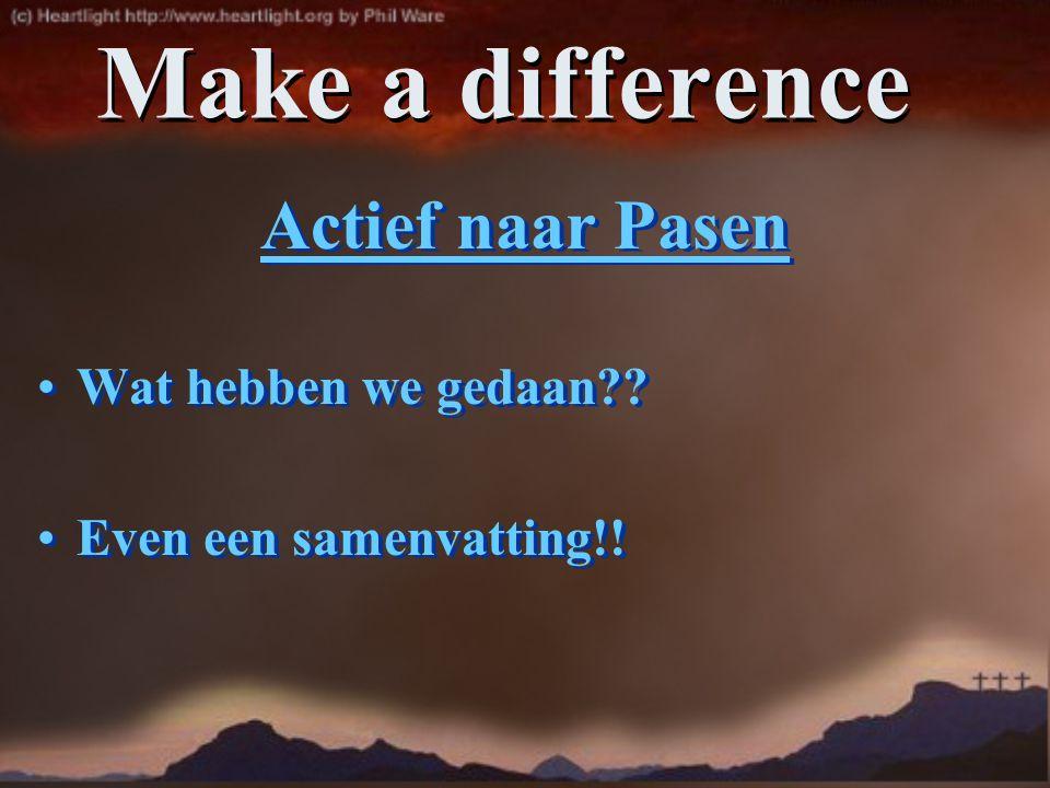 Make a difference Actief naar Pasen Wat hebben we gedaan