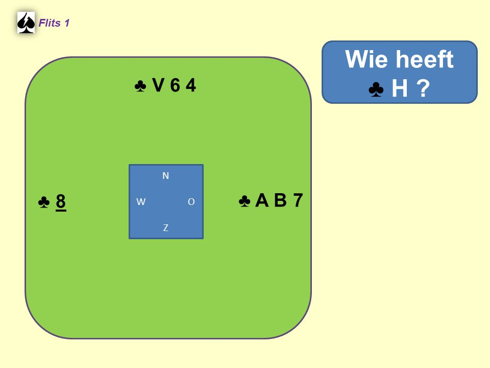 Flits 1 ♣ V 6 4 Wie heeft ♣ H N W O Z ♣ 8 ♣ A B 7