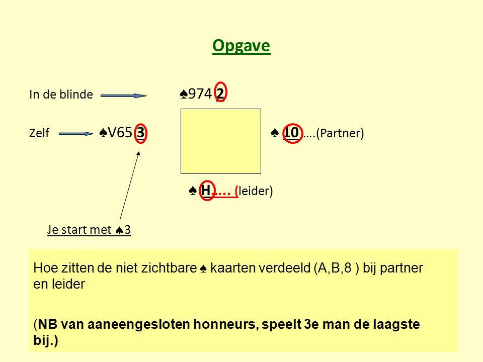 Opgave ♠ H….. (leider) Je start met 3 In de blinde ♠974 2