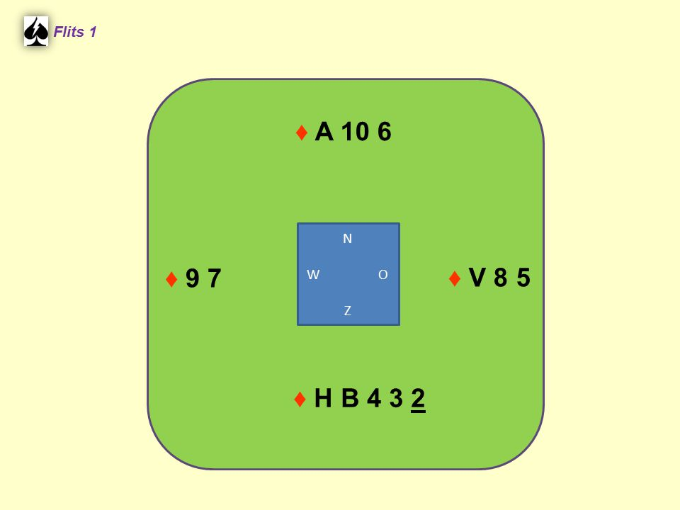 Flits 1 ♦ A 10 6 N W O Z ♦ 9 7 ♦ V 8 5 ♦ H B 4 3 2