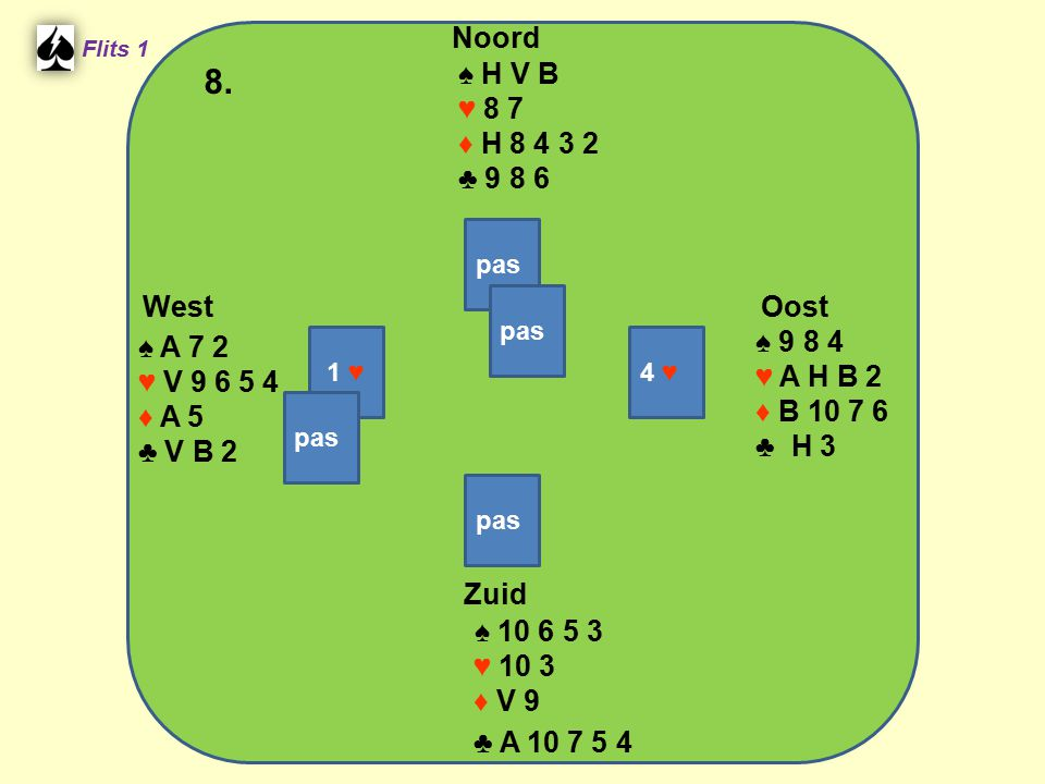 West Noord 8. Zuid ♠ H V B ♥ 8 7 ♦ H 8 4 3 2 ♣ 9 8 6 ♠ 9 8 4 ♠ A 7 2