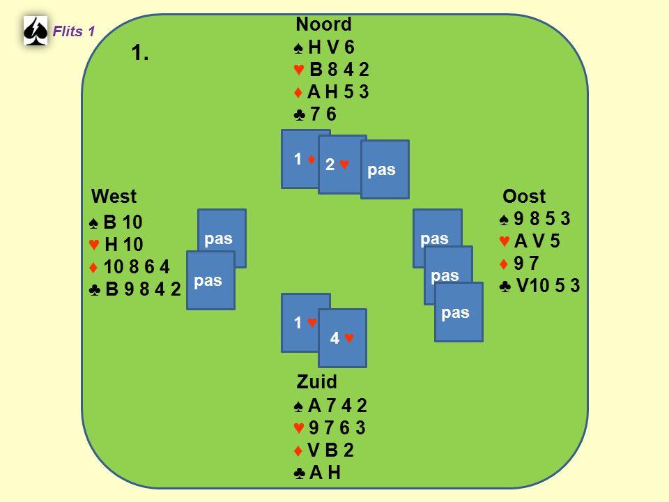West Noord 1. Zuid ♠ H V 6 ♥ B 8 4 2 ♦ A H 5 3 ♣ 7 6 ♠ 9 8 5 3 ♠ B 10