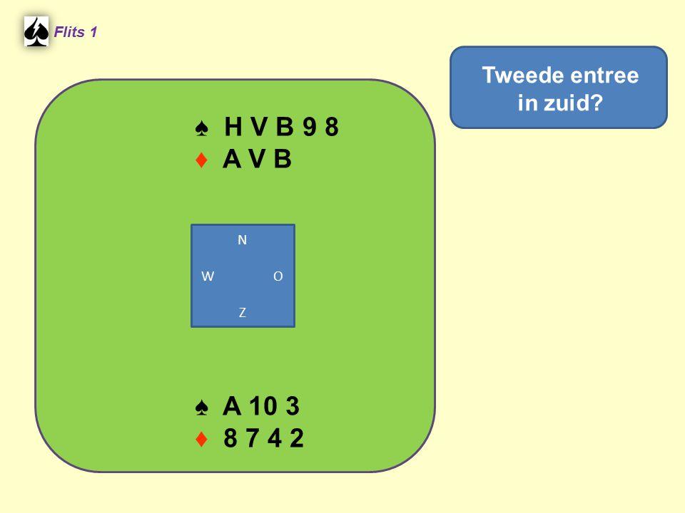 ♠ H V B 9 8 ♦ A V B ♠ A 10 3 ♦ 8 7 4 2 Tweede entree in zuid Flits 1