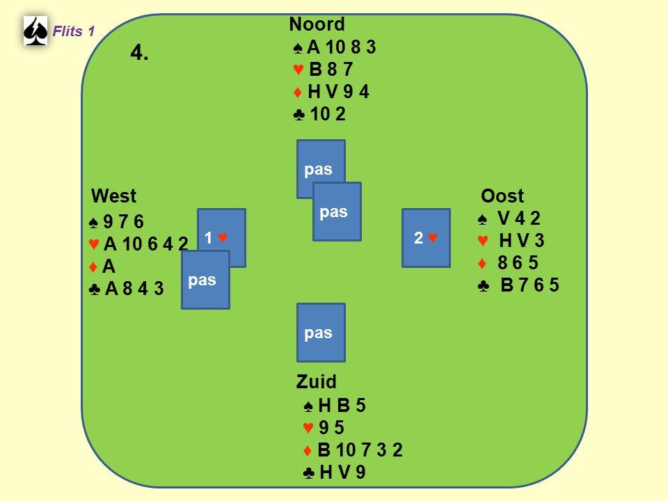 West Noord 4. Zuid ♠ A 10 8 3 ♥ B 8 7 ♦ H V 9 4 ♣ 10 2 ♠ V 4 2 ♠ 9 7 6