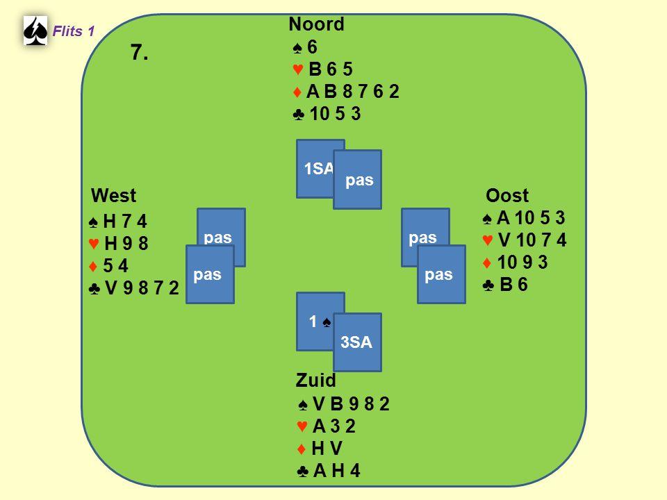 West Noord 7. Zuid ♠ 6 ♥ B 6 5 ♦ A B 8 7 6 2 ♣ 10 5 3 ♠ A 10 5 3