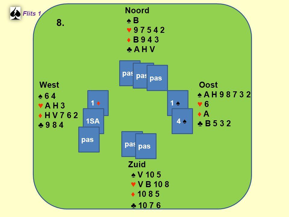 West Noord 8. Zuid ♠ B ♥ 9 7 5 4 2 ♦ B 9 4 3 ♣ A H V ♠ A H 9 8 7 3 2