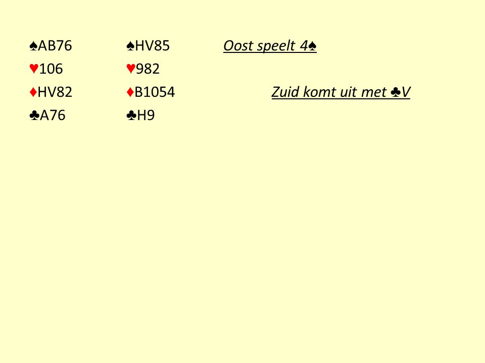 ♠AB76 ♠HV85 Oost speelt 4♠ ♥106 ♥982 ♦HV82 ♦B1054 Zuid komt uit met ♣V ♣A76 ♣H9