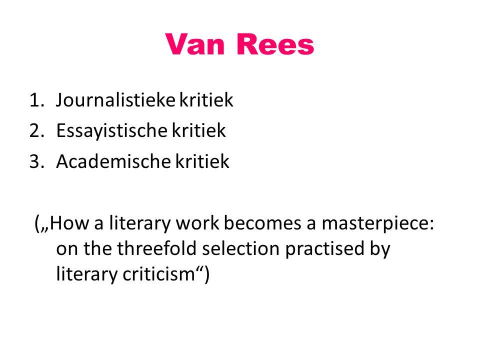 Van Rees Journalistieke kritiek Essayistische kritiek
