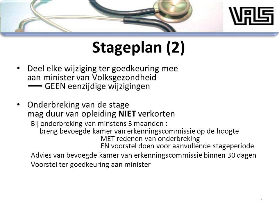 Stageplan (2) Deel elke wijziging ter goedkeuring mee aan minister van Volksgezondheid GEEN eenzijdige wijzigingen.