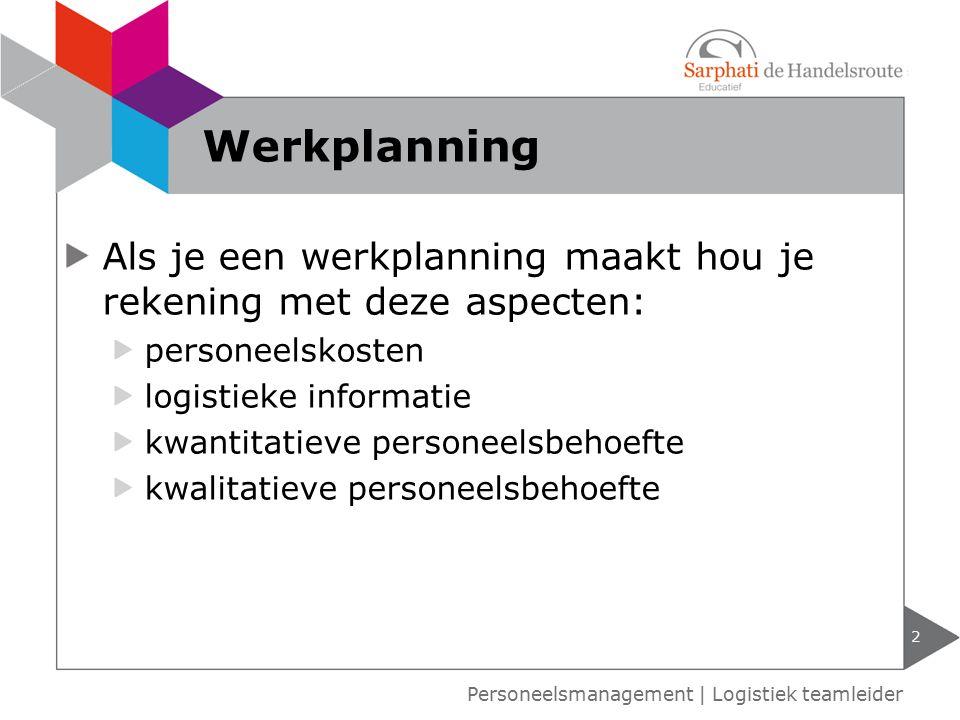 Werkplanning Als je een werkplanning maakt hou je rekening met deze aspecten: personeelskosten. logistieke informatie.