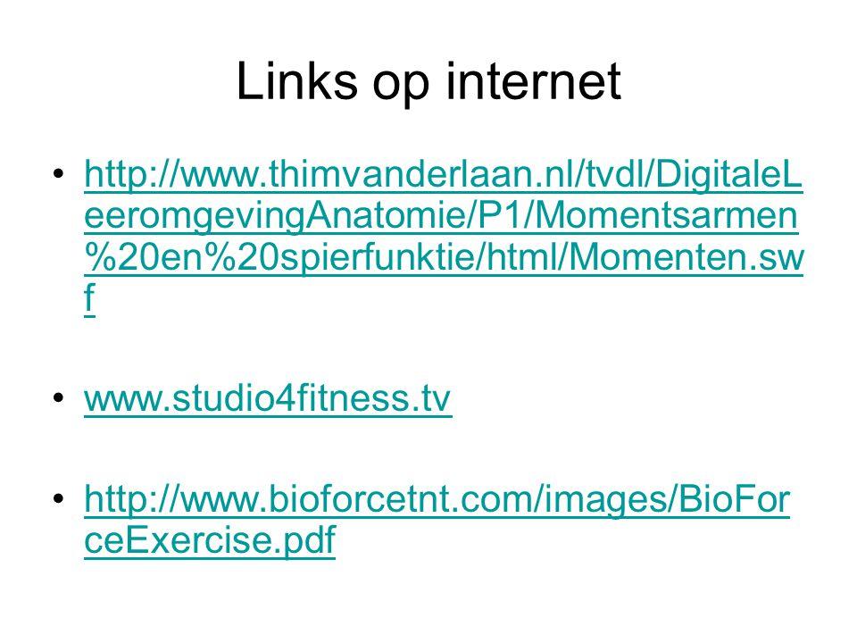 Links op internet http://www.thimvanderlaan.nl/tvdl/DigitaleLeeromgevingAnatomie/P1/Momentsarmen%20en%20spierfunktie/html/Momenten.swf.