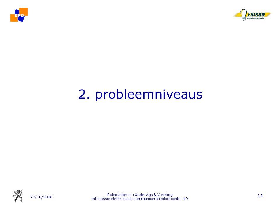 2. probleemniveaus Beleidsdomein Onderwijs & Vorming infosessie elektronisch communiceren pilootcentra HO.