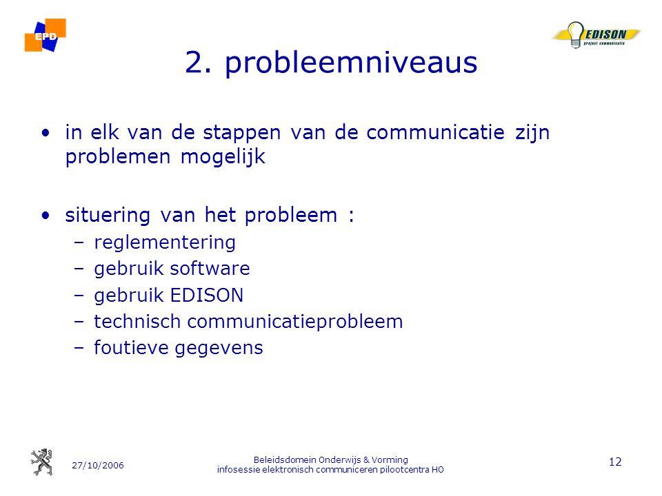 2. probleemniveaus in elk van de stappen van de communicatie zijn problemen mogelijk. situering van het probleem :