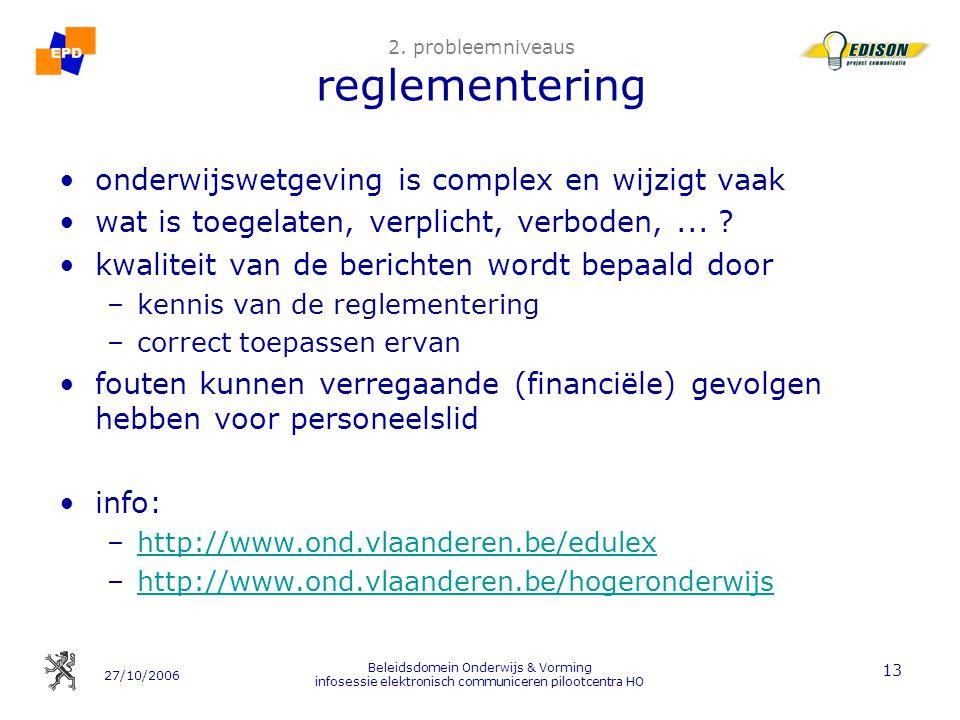 2. probleemniveaus reglementering