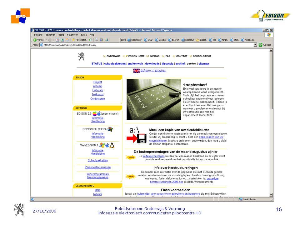 Beleidsdomein Onderwijs & Vorming infosessie elektronisch communiceren pilootcentra HO