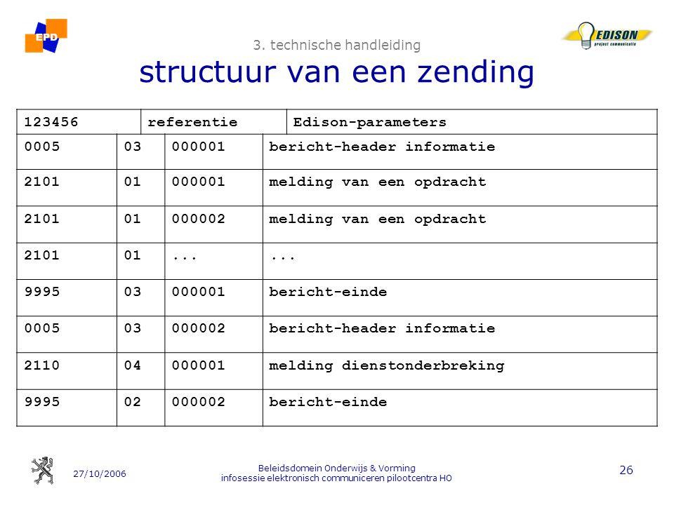 3. technische handleiding structuur van een zending