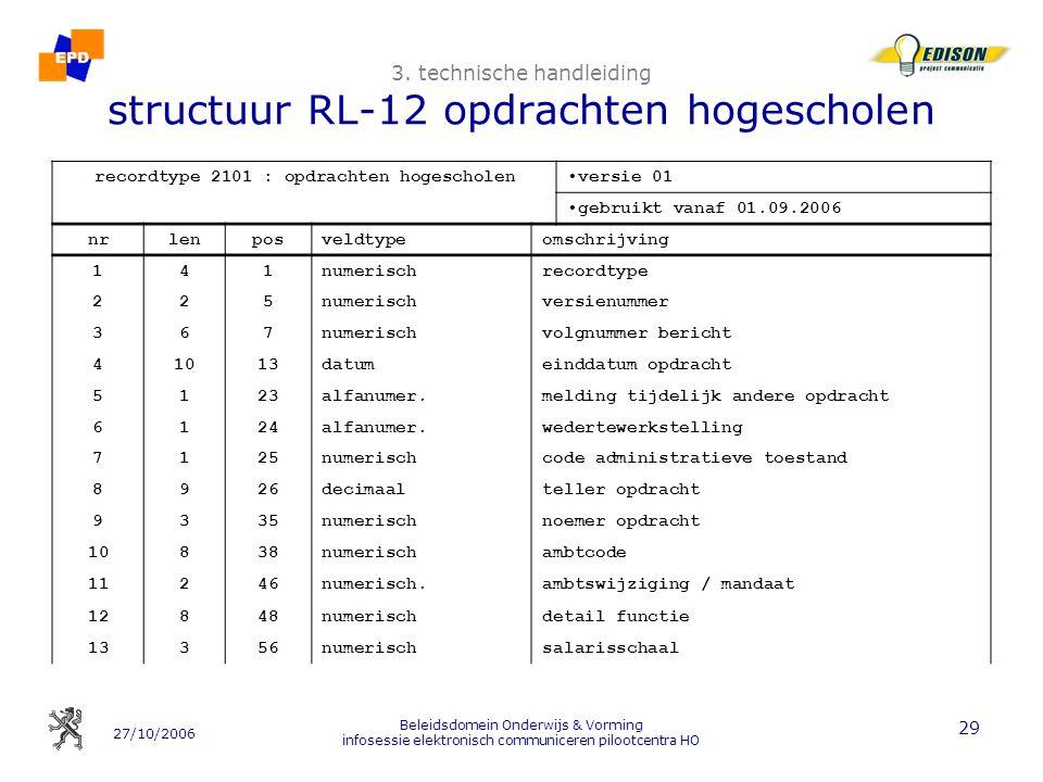 3. technische handleiding structuur RL-12 opdrachten hogescholen
