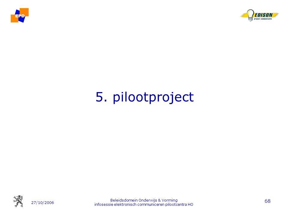 5. pilootproject Beleidsdomein Onderwijs & Vorming infosessie elektronisch communiceren pilootcentra HO.