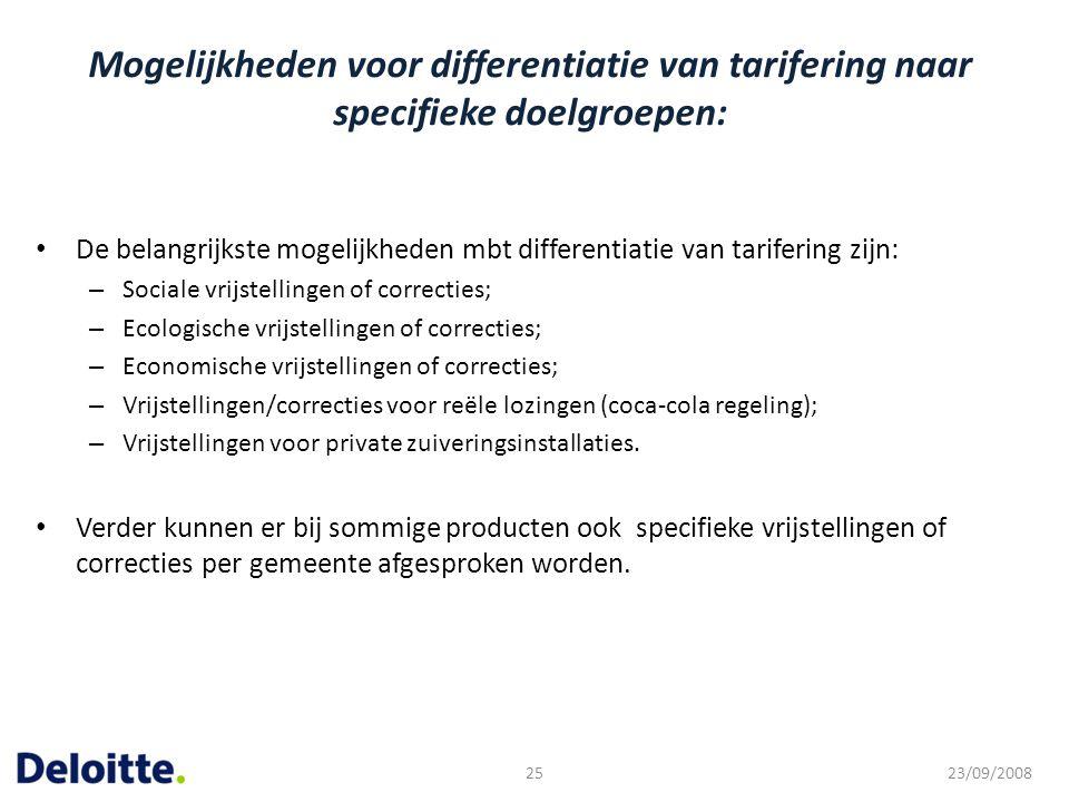 Mogelijkheden voor differentiatie van tarifering naar specifieke doelgroepen: