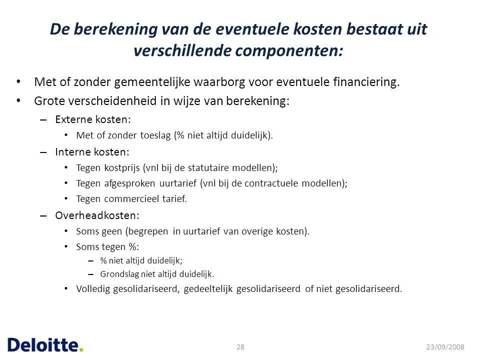 De berekening van de eventuele kosten bestaat uit verschillende componenten: