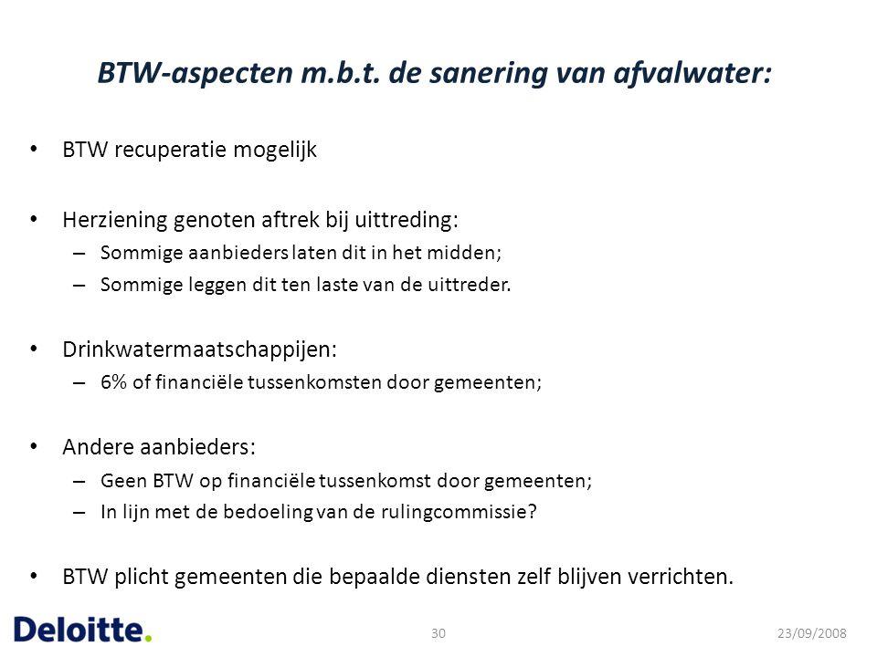 BTW-aspecten m.b.t. de sanering van afvalwater: