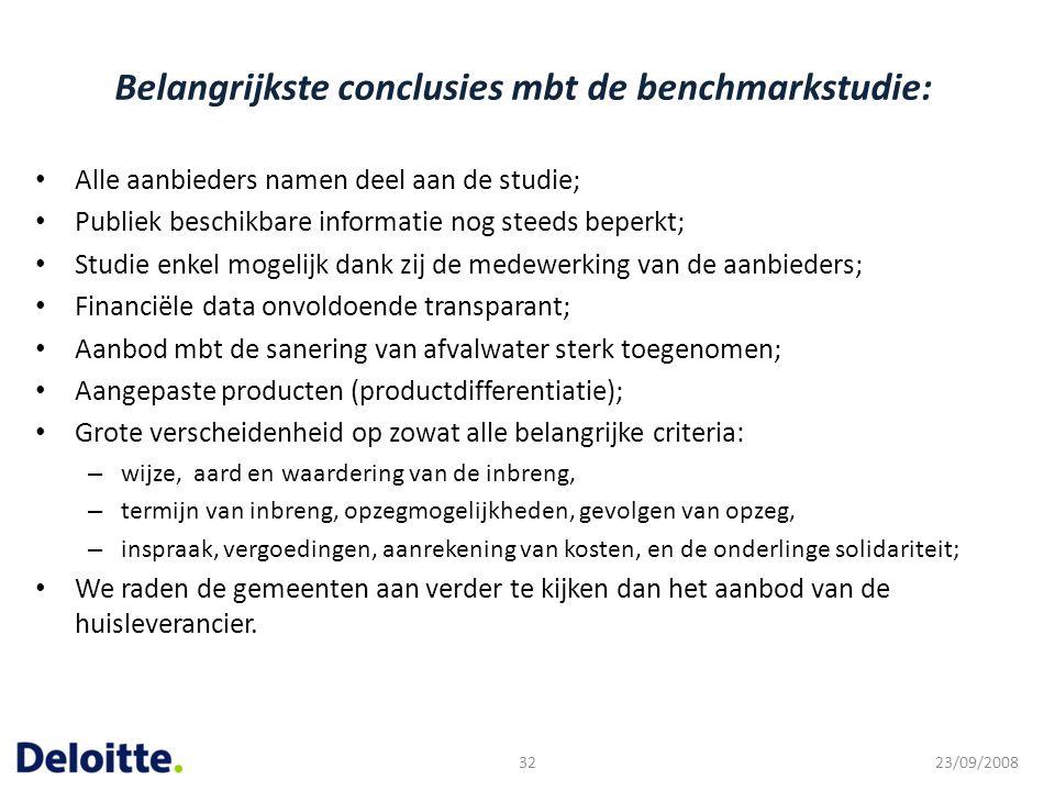 Belangrijkste conclusies mbt de benchmarkstudie:
