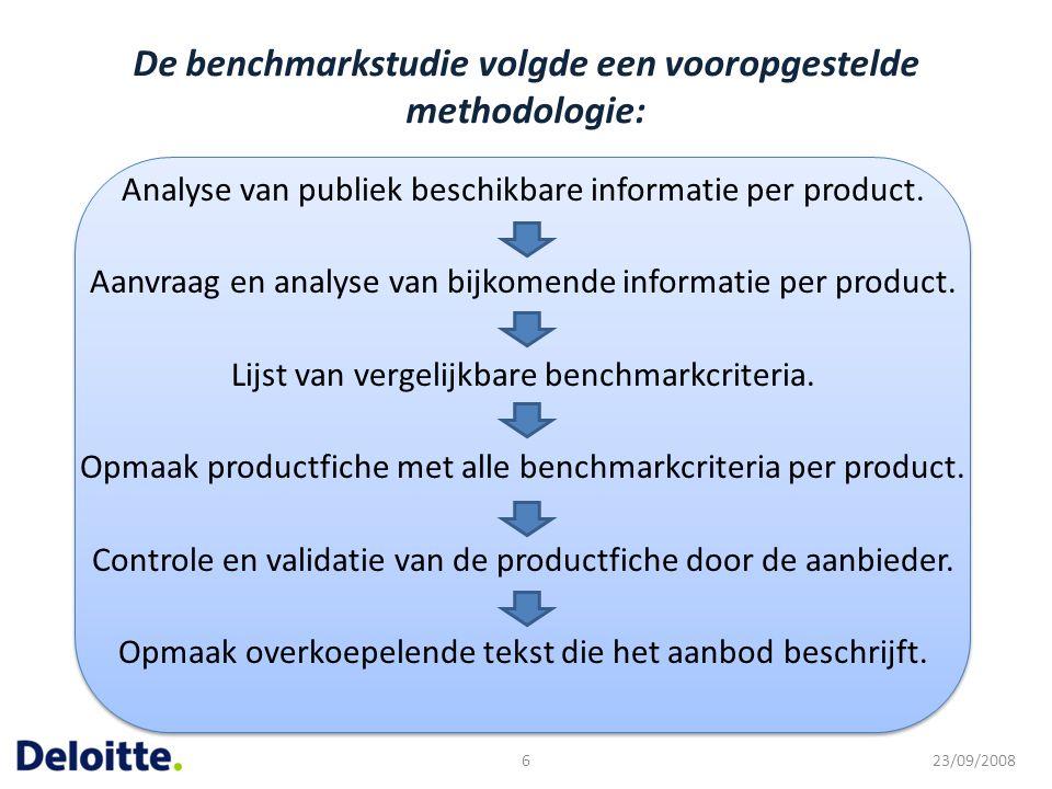 De benchmarkstudie volgde een vooropgestelde methodologie: