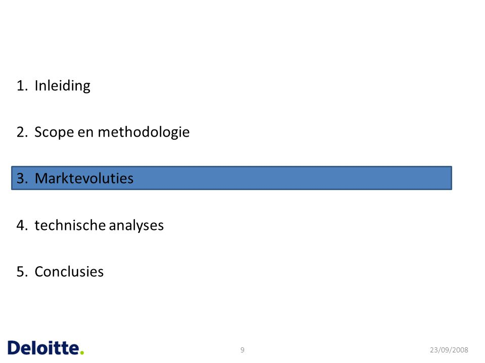 Inleiding Scope en methodologie Marktevoluties technische analyses