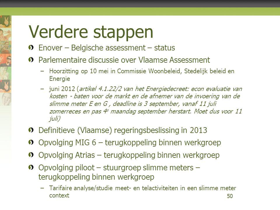 Verdere stappen Enover – Belgische assessment – status