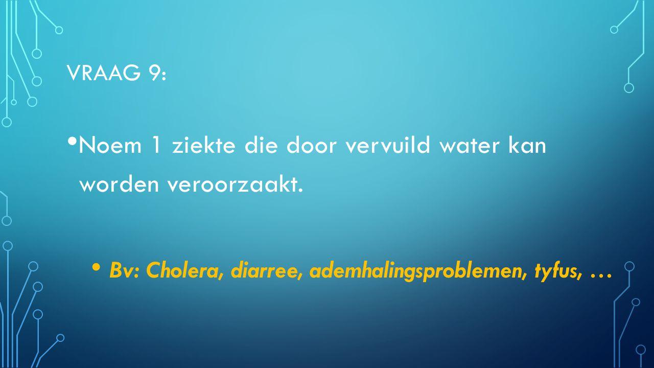 Noem 1 ziekte die door vervuild water kan worden veroorzaakt.