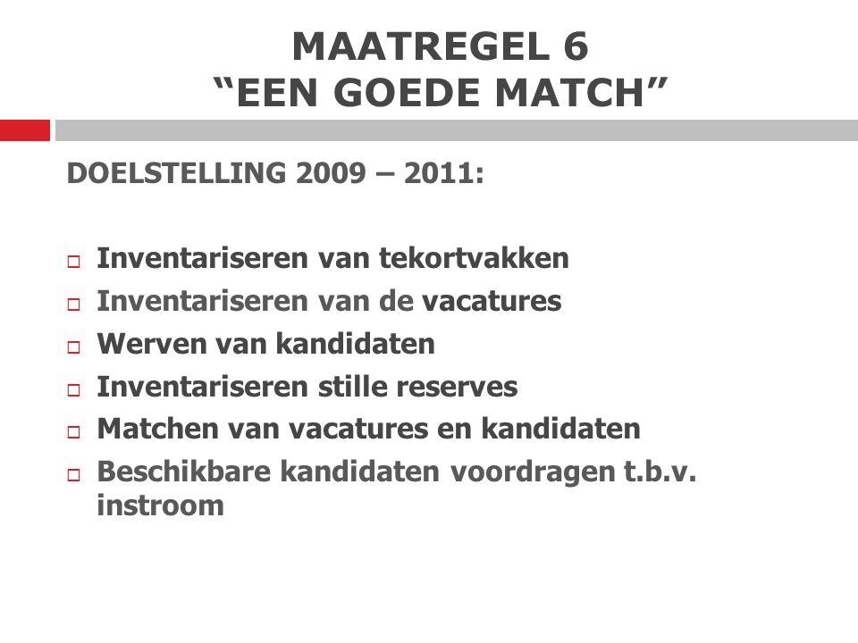 MAATREGEL 6 EEN GOEDE MATCH