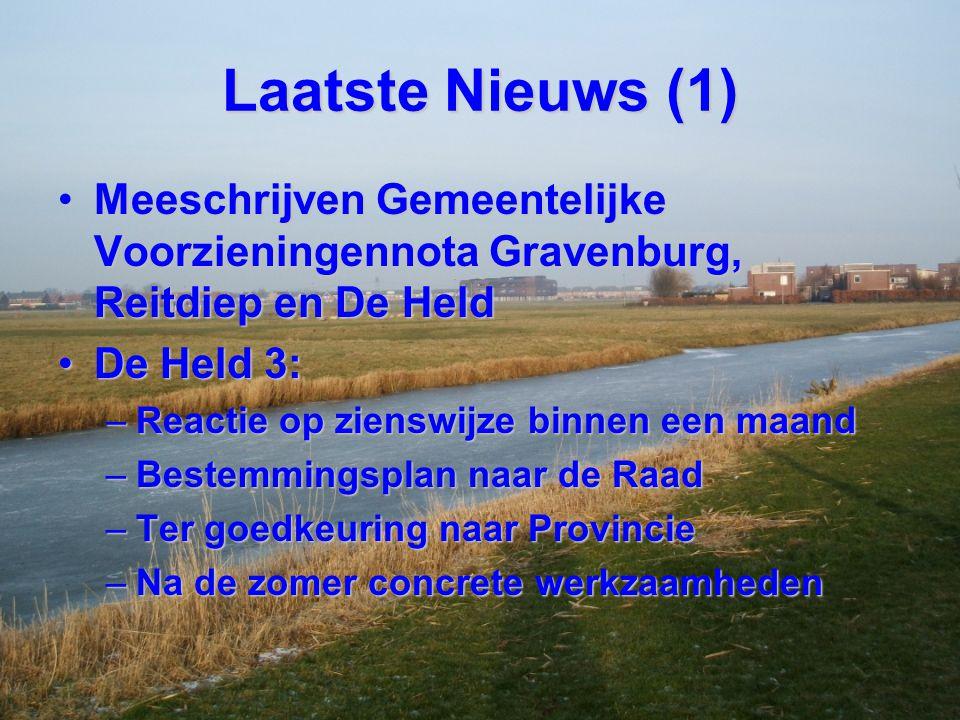 Laatste Nieuws (1) Meeschrijven Gemeentelijke Voorzieningennota Gravenburg, Reitdiep en De Held. De Held 3: