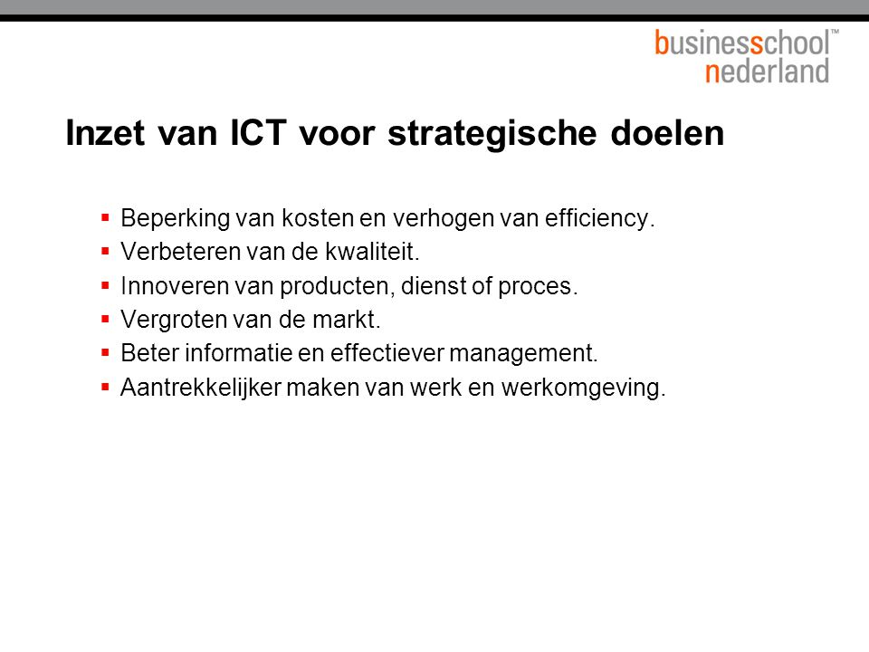 Inzet van ICT voor strategische doelen