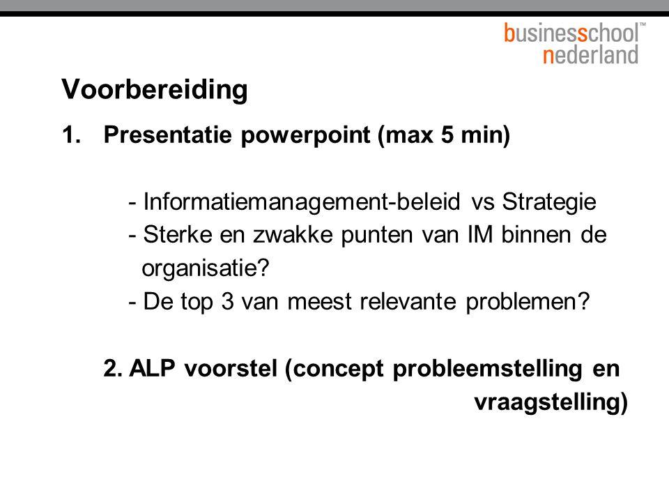 Titel presentatie Voorbereiding.