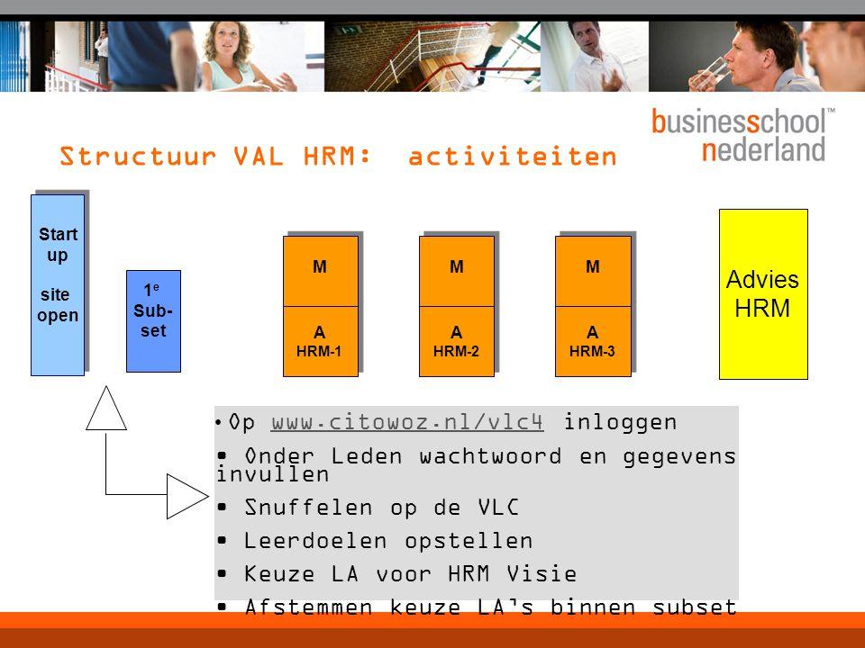 Structuur VAL HRM: activiteiten