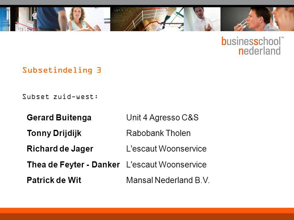 Subsetindeling 3 Gerard Buitenga Unit 4 Agresso C&S Tonny Drijdijk