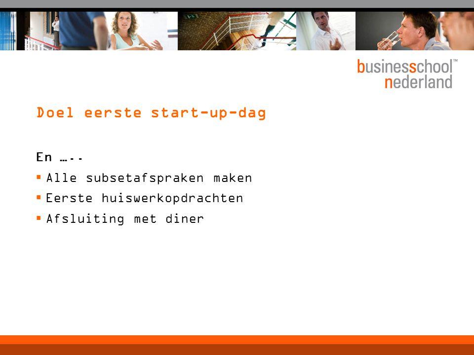 Doel eerste start-up-dag