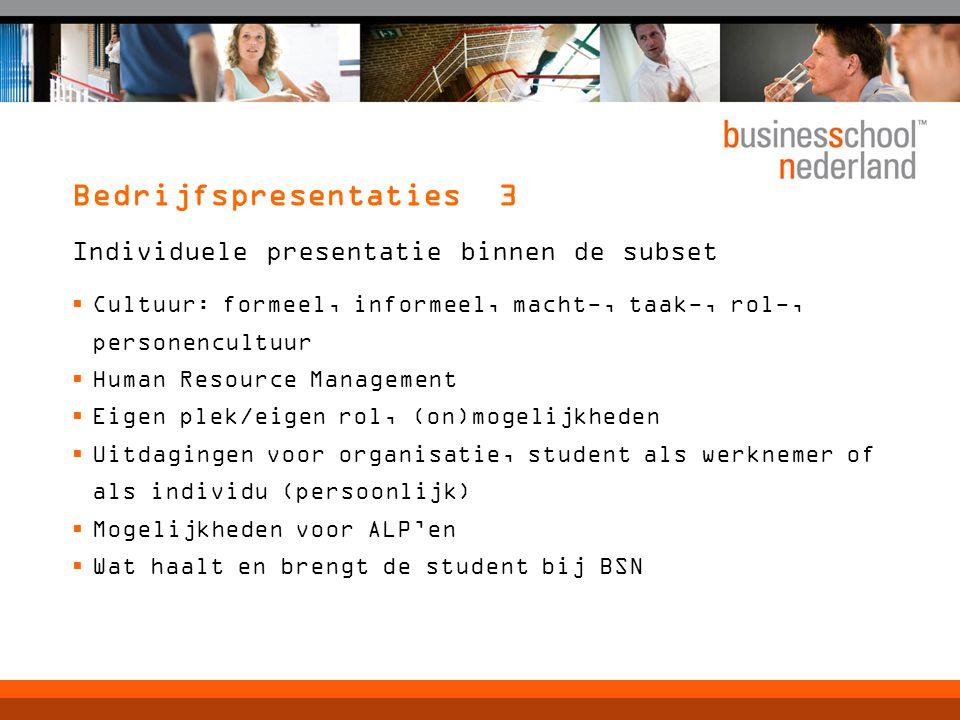 Bedrijfspresentaties 3 Individuele presentatie binnen de subset