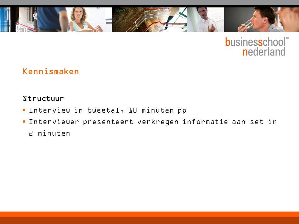 Kennismaken Structuur Interview in tweetal, 10 minuten pp