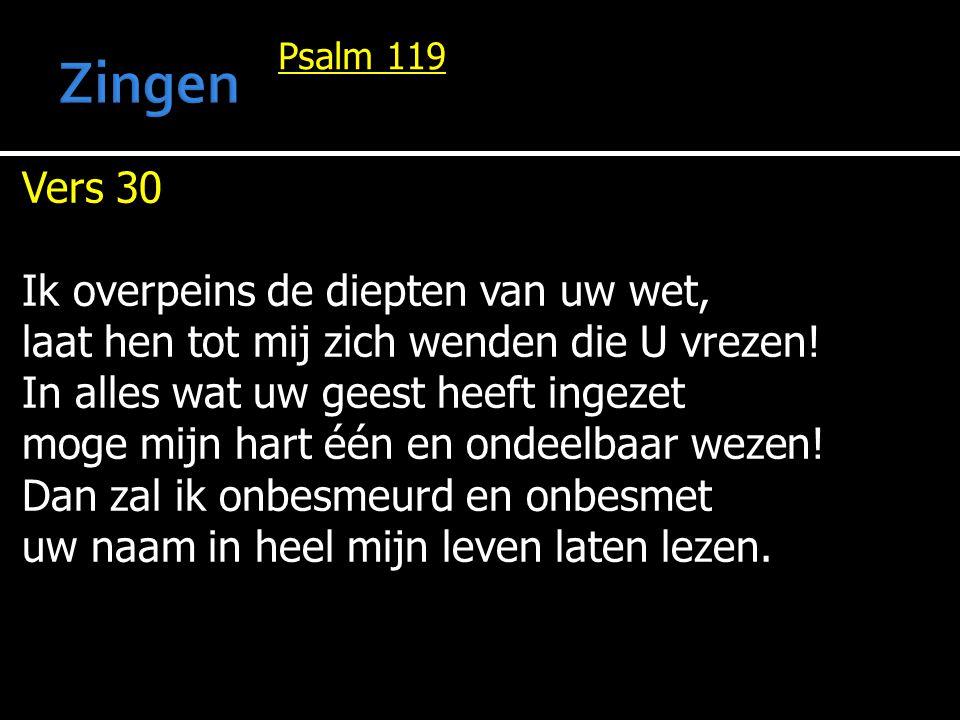 Zingen Vers 30 Ik overpeins de diepten van uw wet,