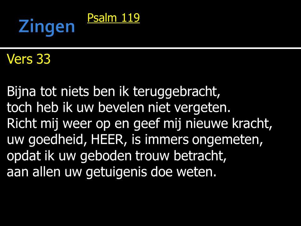 Zingen Vers 33 Bijna tot niets ben ik teruggebracht,