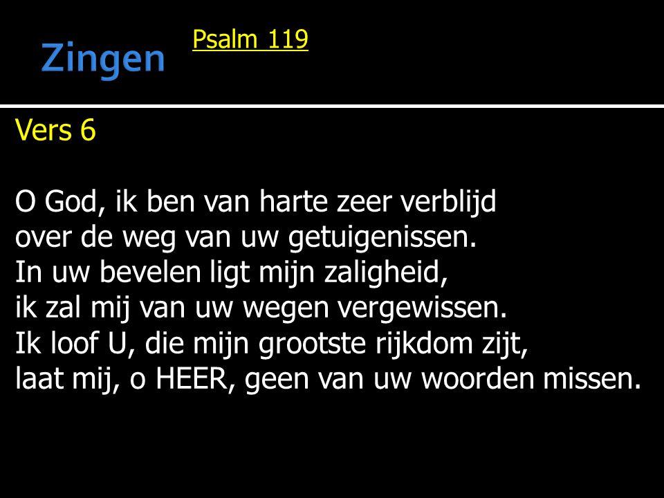 Zingen Vers 6 O God, ik ben van harte zeer verblijd