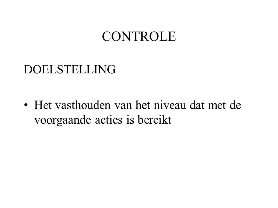 CONTROLE DOELSTELLING